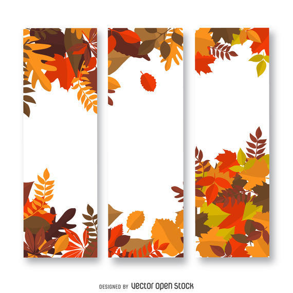 AUTUMN LEAVES VERTICAL BANNER
