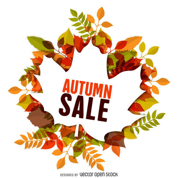AUTUMN SALE LABEL WITH LEAVES