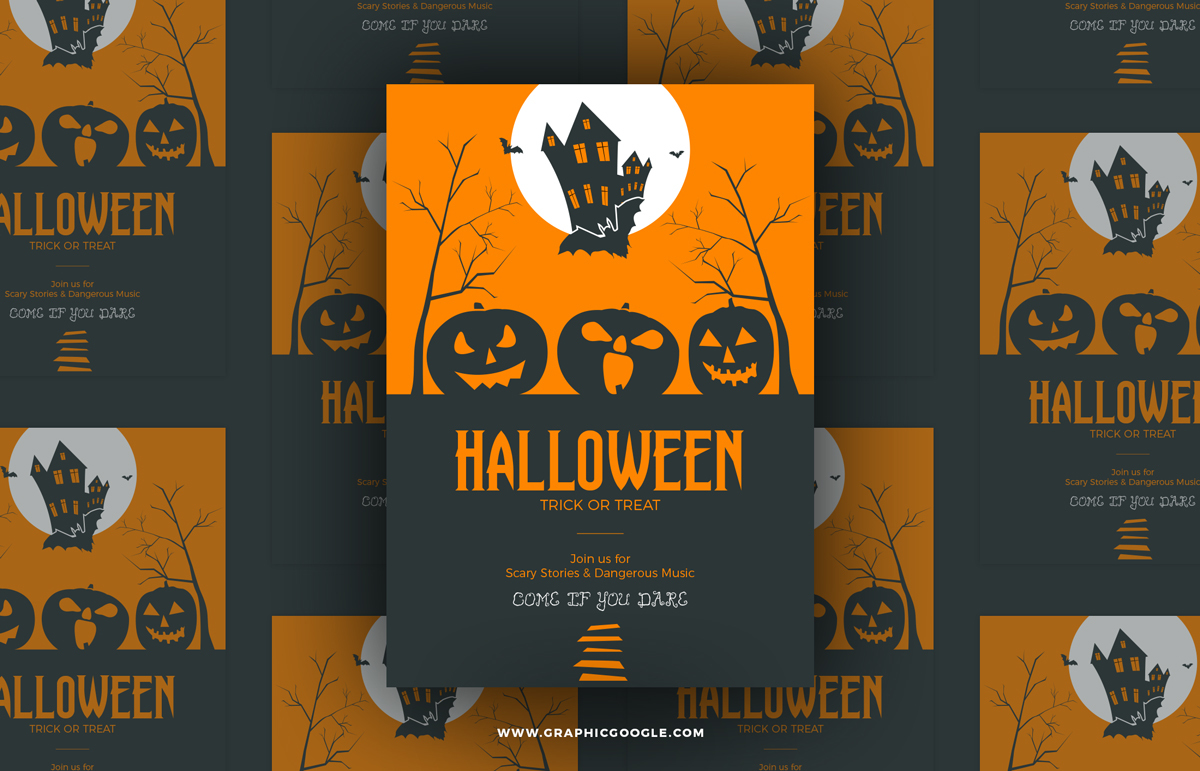 Free Halloween Trick or Treat Vector Flyer Template