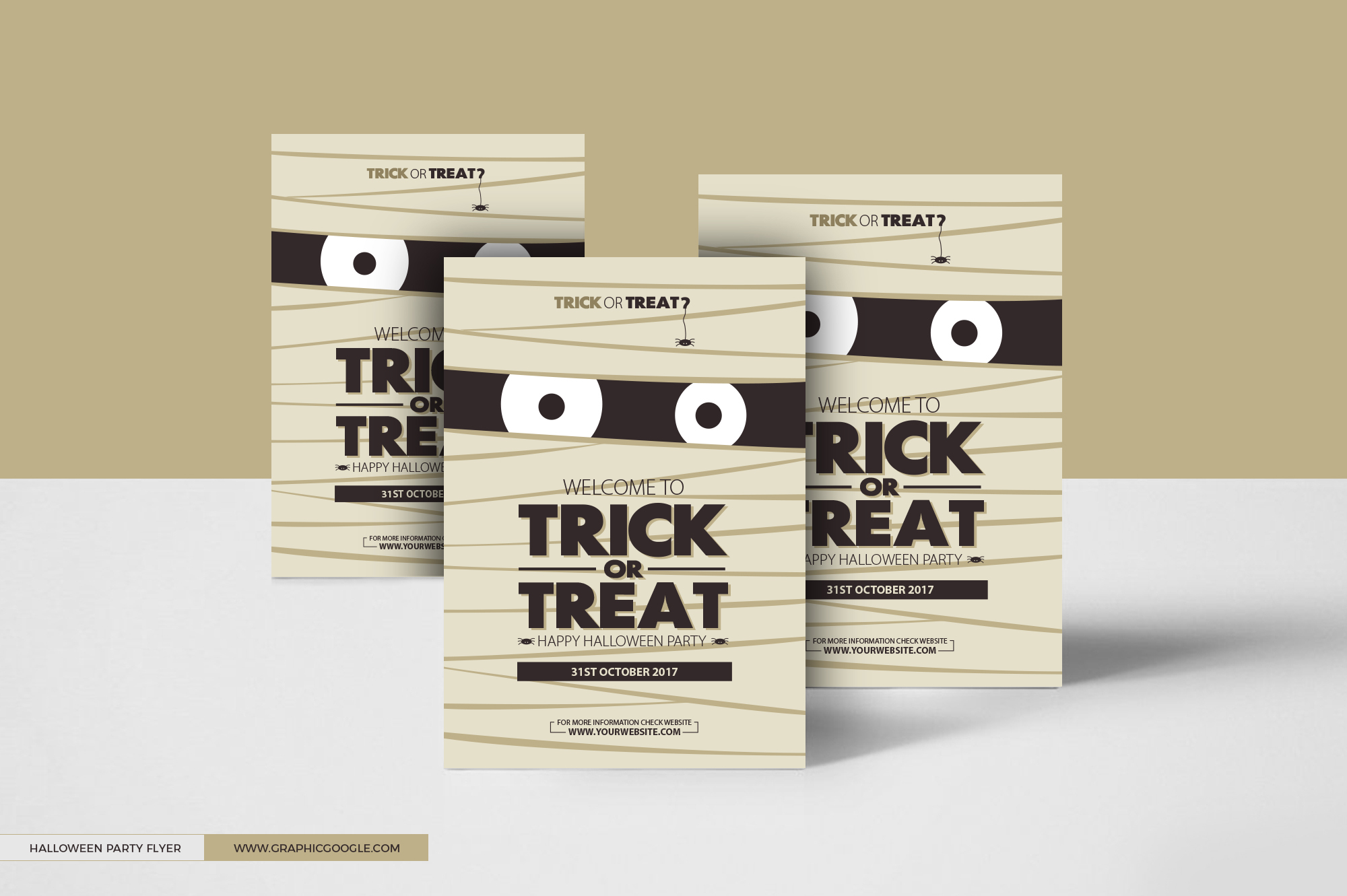 Free Halloween Trick or Treat Party Flyer Design Template