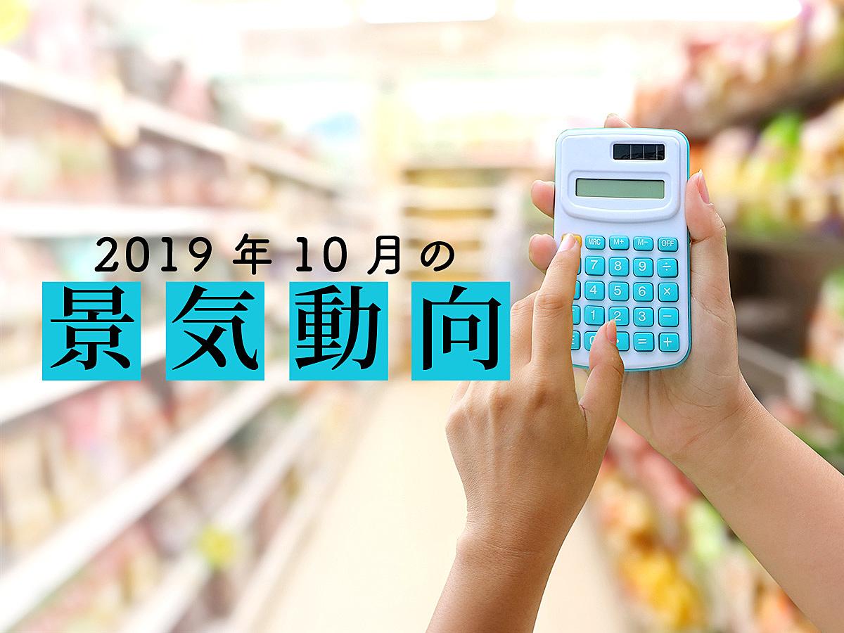 「【調査データ】10月の景気 DI は3ヶ月ぶりに悪化、消費税率の引き上げと台風の影響で下押しに」の見出し画像