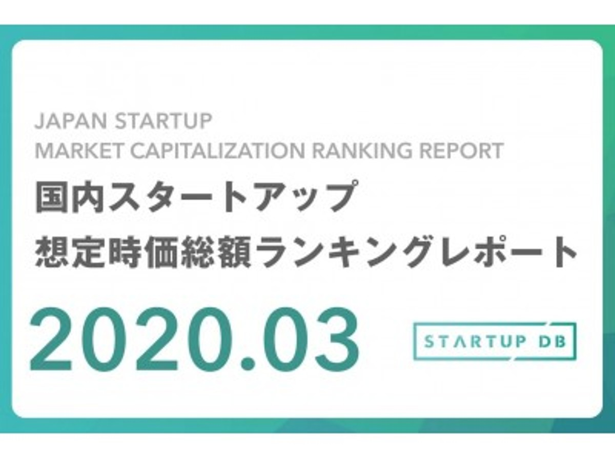 「【STARTUP DB】調査結果 国内スタートアップ想定時価総額ランキング(2020年3月)」の見出し画像