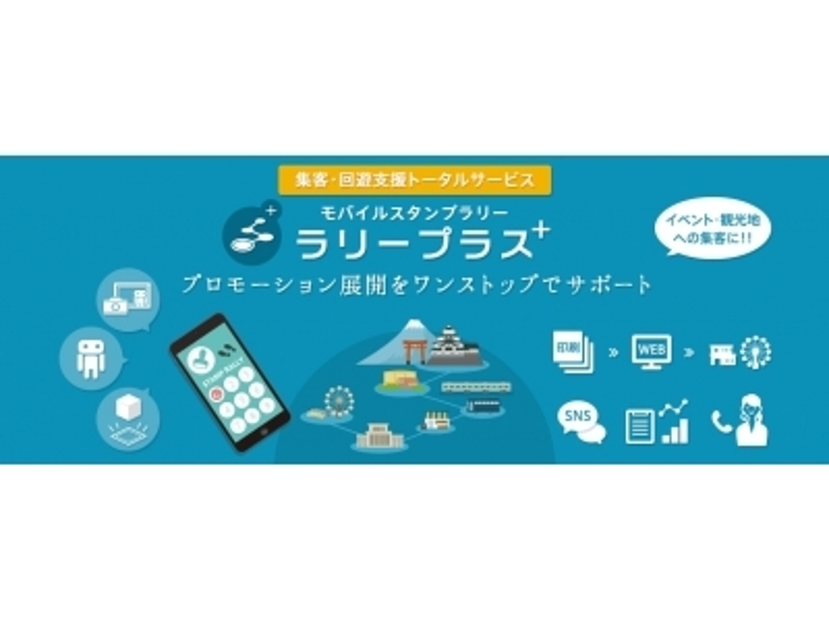 「株式会社廣済堂(本社:東京都港区、代表取締役社長:長代厚生、以下:廣済堂)は、スマートフォンを使ったスタンプラリーによる集客・回遊トータル支援サービス「ラリープラス+」を開始いたします。」の見出し画像
