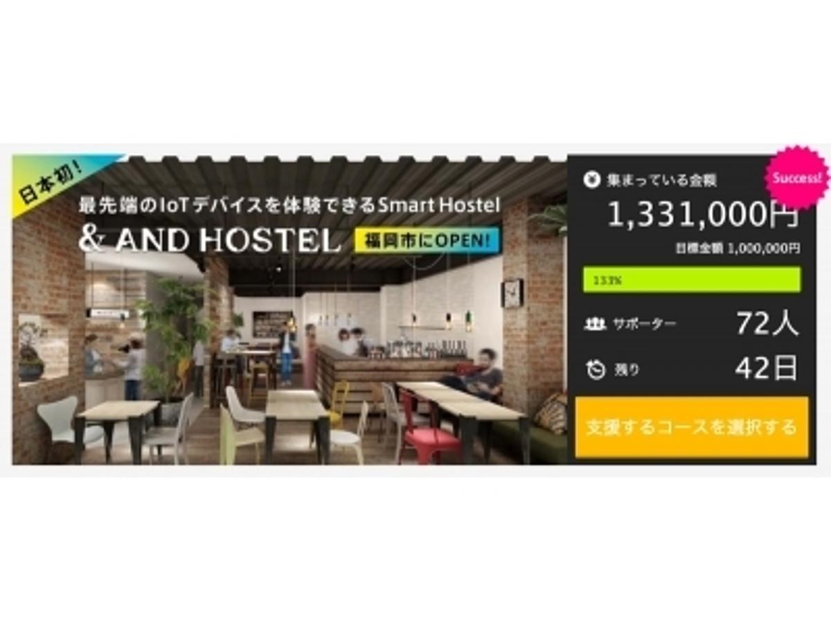 「福岡に8月開業予定!スマートホステル「&AND HOSTEL」が、クラウドファンディングサイト「Makuake」で公開直後に目標金額を達成!」の見出し画像