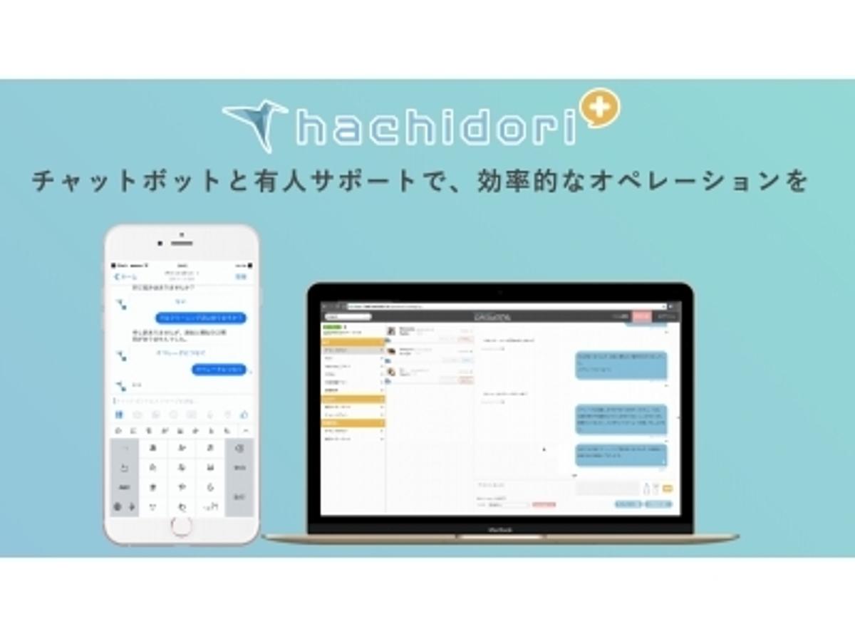 「【顧客満足度向上へ】 不動産・EC・旅行業界などにむけ、チャットボット×データを活用した有人サポートで顧客対応を効率化する「hachidori plus」をリリース」の見出し画像