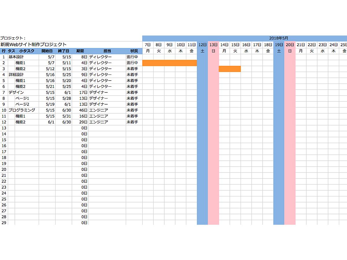 資料「ガントチャートのフォーマット01」の表紙画像